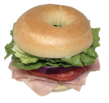 Bagel Sandwich Ham with tomato, onion and lettuce