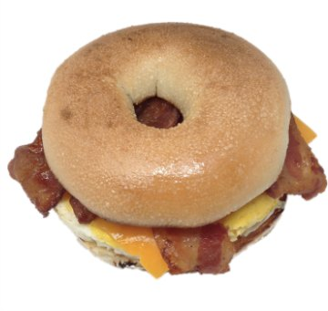 Bagel with Bacon, eggs and cheese